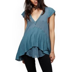 FP Maryanne Tee Sky V-Neck Layered Tunic Shirt Top